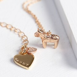Personalised Rose Gold Mini Lucky Horse Necklace