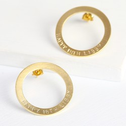 Personalised Brushed Gold Hoop Outline Earrings