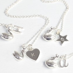 Personalised Lisa Angel Crowned Swan and Charm Necklace