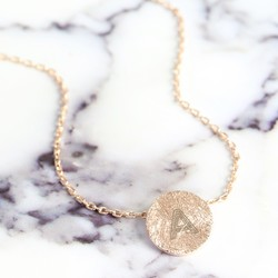 Personalised Rose Gold Scratched Metal Disc Necklace