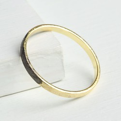 Black Dipped Gold Band Ring