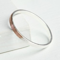 Rose Gold Dipped Silver Band Ring