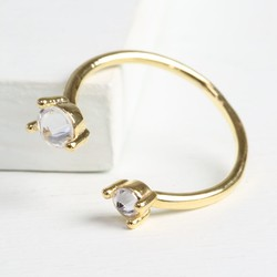 Double Crystal Open Ring in Gold