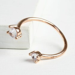 Double Crystal Open Ring in Rose Gold
