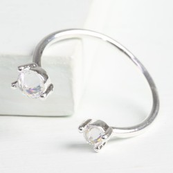 Double Crystal Open Ring in Silver