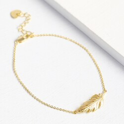 Personalised Gold Feather Bracelet