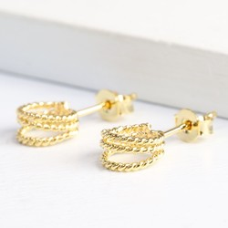 Gold Triple Stand Out Hoop Earrings