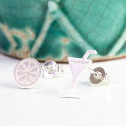 Mismatched Silver Cocktail Glass and Slice Earrings