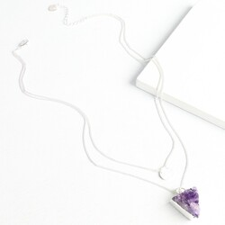 Personalised Double Layer Amethyst Silver Necklace