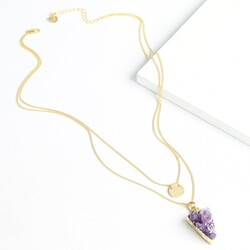 Personalised Double Layer Amethyst Gold Necklace