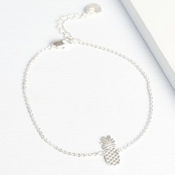 Personalised Silver Pineapple Bracelet