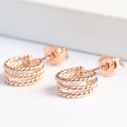 Rose Gold Triple Stand Out Hoop Earrings