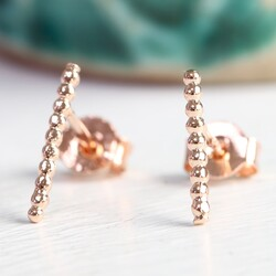 Short Twisted Ear Climber in Rose Gold