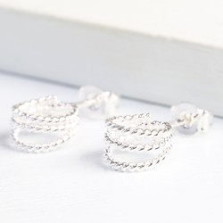 Silver Triple Stand Out Hoop Earrings