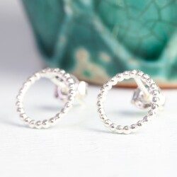 Silver Twisted Circle Earrings