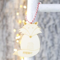 Personalised Wooden Fox Bauble