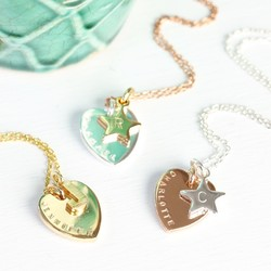 Personalised Mixed Metal Heart & Initial Charm Necklace