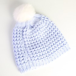 Knitted Bobble Hat with Fur Bobble in Pastel Blue