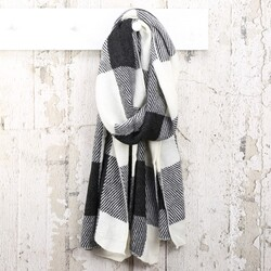 Black and White Check Print Scarf