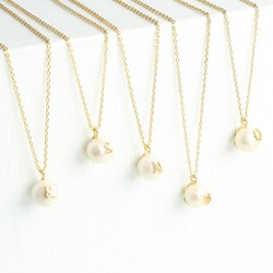 Pearl Pendant Necklace with Gold Initial