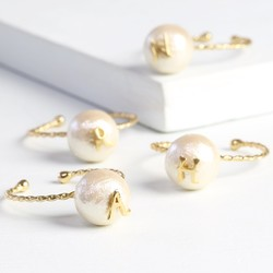 Pearl Ring with Gold Initial