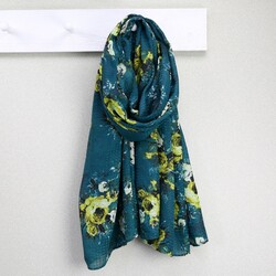Bold Yellow Rose Scarf in Emerald