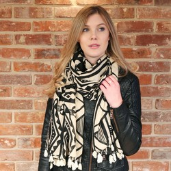 Bold African Print Scarf in Black & Sand