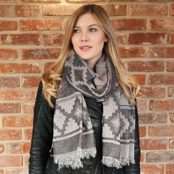 Double Sided Winter Aztec Scarf in Mink