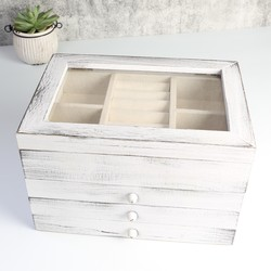 Wooden Three Drawer Jewellery Box