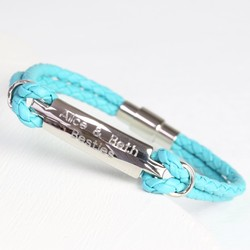 Personalised Turquoise Woven Leather & Plate Bracelet - Medium