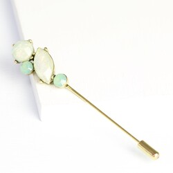 Green Opal Effect Lapel Pin Brooch
