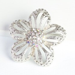 Silver & Iridescent Crystal Flower Brooch