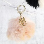 Personalised Fluffy Pom Pom Bag Charm or Keyring in Beige