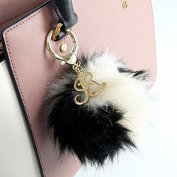Personalised Fluffy Pom Pom Bag Charm or Keyring in Beige and Black