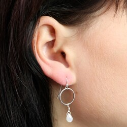 Orelia Single Stone Drop Mini Hoop Earrings