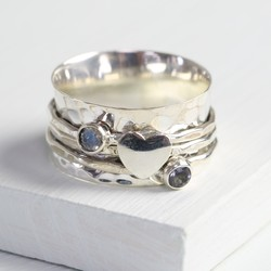 Sterling Silver Iolite & Moonstone Heart Spinning Ring