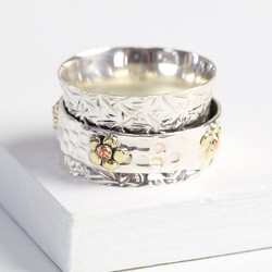 Sterling Silver Spinning Flower Ring