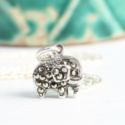 Sterling Silver Gem Elephant Necklace