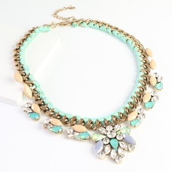 Statement Woven Chain Necklace in Mint