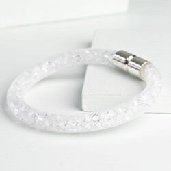 Crystal Mesh Bracelet in White