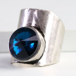 Statement Wide Silver Band Ring with Blue Gem