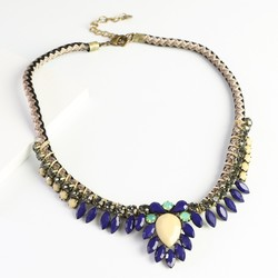 Statement Navy Gem & Cord Necklace
