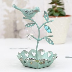 Petite Bird Earring Stand in Duck Egg Green