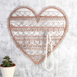 Heart Shaped Wall Jewellery Display in Copper