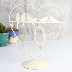 Heart Shaped Birds on a Wire Jewellery Stand