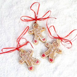 Mini Gingerbread Man Hanging Decoration with Initial