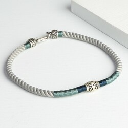 Grey Cord and Etched Sterling Silver Bead Bracelet