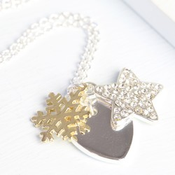 Winter Wishes Necklace with Gold Snowflake Charm
