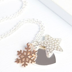 Winter Wishes Necklace with Rose Gold Snowflake Charm