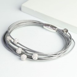 Multi-Strand Shamballa Bracelet in Grey